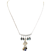 Hand Made One Of A Kind Brilliant Labradorite, Citrine, Topaz, Garnet & Bali Silver Sterling Necklace Made By MJG Designs