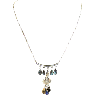 Hand Made One Of A Kind Brilliant Labradorite, Citrine, Topaz, Garnet & Bali Silver Sterling Necklace Made By MJG Designs