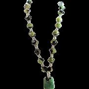 Designer Signed Wonderful Green & Black Banded Agate Druzy Bead Necklace