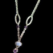 Designer Signed OOAK Blue Lace Agate, Amethyst Sterling Necklace