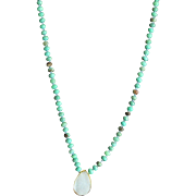 Designer Crafted Hand Knotted Turquoise Opals & 14 KGF Necklace