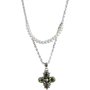Artisan Signed White Freshwater Pearls, Peridot & Sterling Cross Pendent Necklace