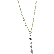 Designer Made Labradorite 14 KGF Chain Lariat Necklace
