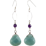 OOAK Designer Sterling Amazonite &Amethyst Earrings