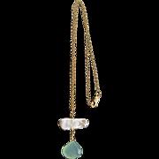 Designer Signed Aqua Chalcedony White Fancy Keishi Stick Pearl & 14 KGF Necklace