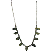 OOAK Green African Jade (Type of Garnet) Oxidized Sterling Chain Necklace