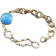 Designer Crafted Turquoise & Gold Filled Chain & Pearl Bracelet