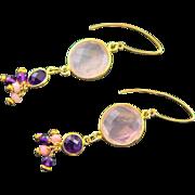 Pink Opal, Rose Quartz, Amethyst & 14 KGF Earrings by MJG Designs