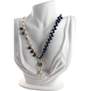 Navy Blue Pearl, White Pearl 14 KGF Chain, Blue Druzy, Faceted Clear Crystal & Keishi Pearl Necklace by MJG Designs
