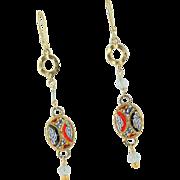 Vintage Micro Mosaic Italian Pendents 14 KGF Earrings by MJG Designs