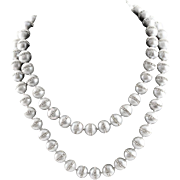 Designer Made Fine Light Gray Freshwater Pearls With Swarovski Crystal Chatons Hand Knotted Necklace