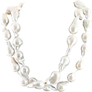 Designer Made & Hand Knotted White Large Baroque Pearl Necklace