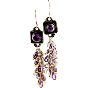 Exceptional Designer Made Amethyst & Sterling Earrings