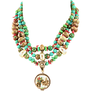 Spectacular Handmade One Of A Kind Multi Strand Pendent Necklace By MJG Designs