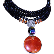Designed by MJG Designs One Of A Kind Choker With Dark Blue Goldstone, Sterling, Beaded Necklace