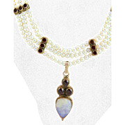 Stunning FW White Pearl, Spectacular Moonstone and Garnet Necklace Hand Made by MJG Designs