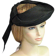 Outstanding Vintage Suffragette Era Black Straw Chapeau With Label