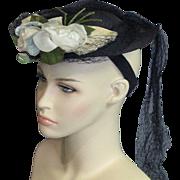 Vintage Early 20th Century Marcelle Silk & Velvet Flower Navy Blue Fine Woven Straw Ht