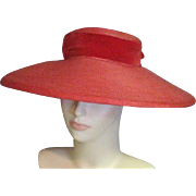 Vintage 1920's Amazing Red Straw Cartwheel/Picture Straw Hat