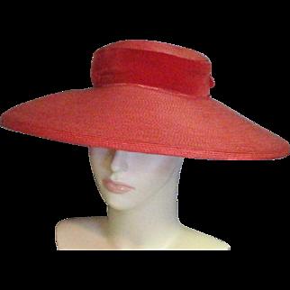 Vintage 1920's Amazing Red Straw Cartwheel/Picture Straw Hat