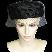 Sophisticated Black Velvet and Satin Hat