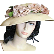 Vintage Straw Picture Hat From 1930's-'40's With Silk & Velvet Flowers