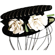 Unique, One of a Kind, Dudley Original, 1920's Black & White Stripe Cloth Chapeau, French Looking