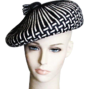 Vintage Schiaparelli, Paris Black &  White Chapeau With Original Hat Box
