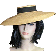 Fashionable Vintage 1920's Straw Cartwheel Hat