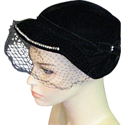 1940's Black Velvet With Rhinestones Party Hat