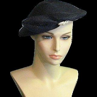 Smart Vintage Black Soft Straw Beret Style Chapeaux