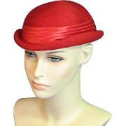 Sophisticated Eisenhower Style Red Wool Felt Military Style Cox's Fort Worth Hat