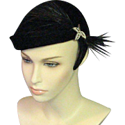 Beautiful 1950's Clip Black Velvet Hat