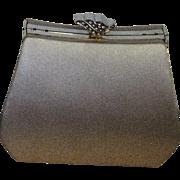 Vintage Jessica McClintock Gold Satin Evening Bag, Fancy Clasp Vintage Satin Bag