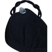 Vintage Jemco Evening Bag, Evening Bag With Marcasite Clasp, Black Silk Evening Bag