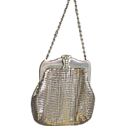 Small Vintage Whiting & Davis Mesh Purse, Silver Mesh '40's Whiting & Davis Small Bag