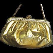 Vintage Gold Lama Evening Bag With Baguette Rhinestones, Faye Mell Design Vintage Bag