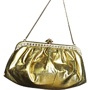 Vintage 1960's Exclusive Faye Mell Design Gold Lame Purse With Baguette Rhinestones