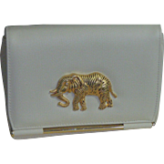 Vintage White Bag With Gold Elephant Front Flap