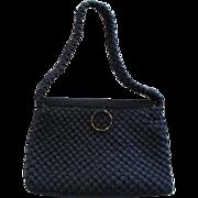 Vintage Navy Blue Crochet Gandbag