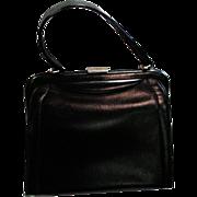 Beautiful Dafan, Made In France Black Leather Hard Frame Handbag