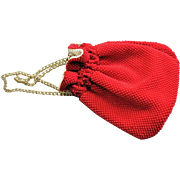 Vintage Reversible Red & White Drawstring Bag
