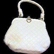 Vintage White Vinyl Quilted Handbag