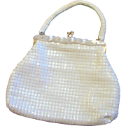 Vintage 50's White Vinyl Made In Hong Kong White Vinyl Handbag