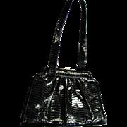 Vintage Black Snakeskin Giani Bernini Shoulder Two Handled Handbag