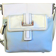 Vintage Blue Silver & Oyster Leather Cross Body Bag