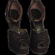 1940's Renee Hudnut Brown Suede D'orsay Heels