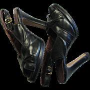 Wonderful 1940's Vintage Black Leather Open Toe Sling Back Pump