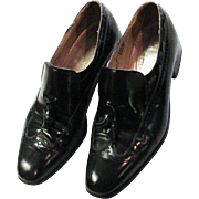 Mens Dress Black Leather Johnson & Murphy Wing Tip Shoes