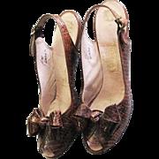 Spectacular 1950's Snakeskin Open Toe Sling Strap Pump